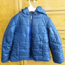 girl boy tommy hilfiger puffer jacket winter coat blue size 5 with hood nwt 80