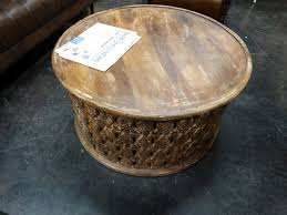 round wooden carved coffee table denver furniture