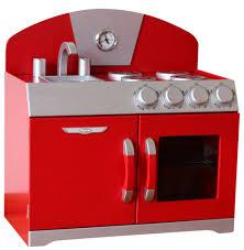Retro Play Kitchen Set Hip Kids Red Retro Pretend Play Kitchen Wooden Toy Stove Oven