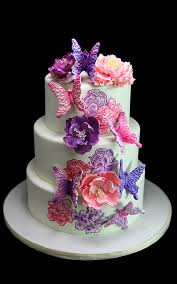 3d Hand Painted Flower Butterfly Wedding Cake Butterfly Bake