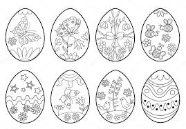 Het Aantal Decoratieve Paaseieren Kleurplaat Stockvector