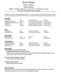 Acting Resume Template Word Download Acting Rsum Template Pdf Word  Wikidownload Free