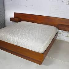 sold – vintage scandinavian modern teak king platform bed with