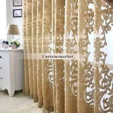 beautiful yarn patterned dark gold sheer curtains