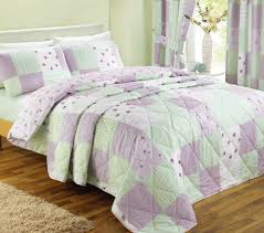 fl patchwork lilac green and white king size duvet cover bed set
