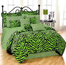 black lime green zebra print bed in a bag set twin size