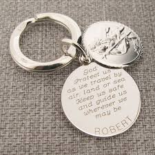 sterling silver personalized round st christopher keychain with travelers prayer
