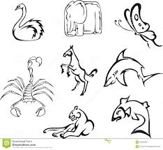 Animali Divertenti Semplici Illustrazione Vettoriale Illustrazione
