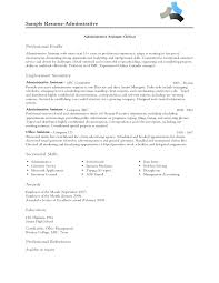 Administrative Professional Resume Profile New Sample Resume Adminstrative  Administrative assistant Clerical