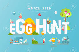 Easter Egg Hunt Invitation Banner Easter Eggs And Cartoon Cute