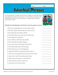 Adverbial Phrases | Free, Printable Adverb Worksheets