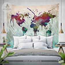world map abstract watercolor wall tapestry grunge world map wall tapestry hippie tapestry wall  on abstract watercolor wall art with world map abstract watercolor wall tapestry grunge world map wall