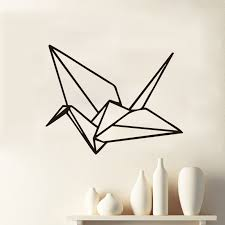 Paper Crane Size Chart Us 5 0 24 Off Geometric Paper Crane Wall Stickers Home Decor Bedroom Animal Wall Decals Vinyl In Wall Stickers From Home Garden On Aliexpress