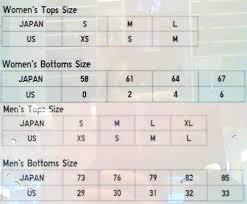 Us Tops Size Chart Uniqlo Womens Size Chart Www Bedowntowndaytona Com