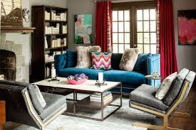 Small Mnimalist Living Room Bohemian Apartment Decor With Comfortable Blue  Lovely Sofa And Red Modern Fabric ...