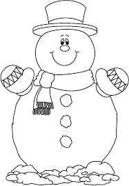 Smilling Snowman Coloring Pages Free