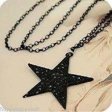 funky black star necklace pendant long
