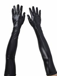 women s las long faux leather evening party opera elbow length glossy gloves for