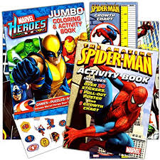Avengers Chart Marvel Heroes Spiderman Coloring Book Set With 2 Books Stickers Growth Chart And Poster