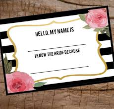 How To Print Avery Name Badges Bridal Shower Name Tag Printable Name Tag Avery Name