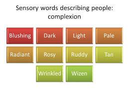 descriptive essay assignment % write a descriptive essay on one  5 sensory words describing people complexion