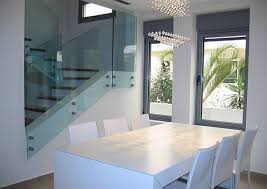 white modern dining room sets. Marvelous Modern Dining Room Tables Applying White Color Furnished With Crystalist Chandelier And Chairs Sets