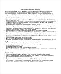 Marketing Coordinator Job Description Unique 48 Marketing Job Descriptions Free Sample Example Format Free