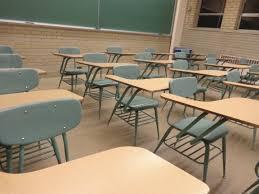 student desks in classroom