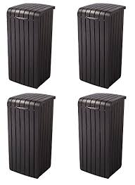 Marvelous Keter Copenhagen 30 Gallon Resin Wood Style Outdoor Trash Can Waste Bin  With Removable Rim