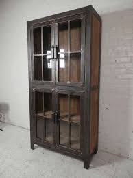 Glass Door Cabinet Reclaimed Iron And Wood Glass Door Cabinet For Sale At 1stdibs