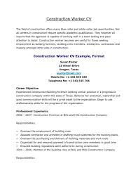 Construction Resume Templates Ownforumorg