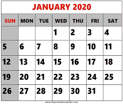 Printable Calendars For 2020 January 2020 Printable Calendars