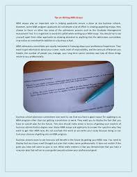 tips on writing mba essays