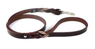 braided leather dog leash black