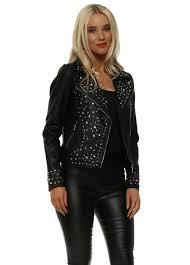 black rainbow crystal faux leather biker jacket