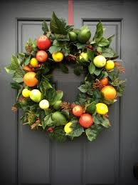 Lemon And Lime Kitchen Decor Fruit Wreath Apple Orange Lemon Lime Pear Wreath Fruit Decor