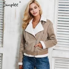 2019 simplee leather suede lamb fur jacket coat women faux suede jacket belt turn down winter coat female casual zipper moto overcoat from movearound