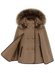 double ted detachable fur hooded women s fashion cape coats