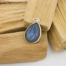 labradorite pendant drop faceted 20x15mm sterling silver