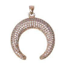 rose gold plated sterling silver pave double horn pendant zircon pave pendant