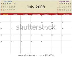 Monthly Calendar July 2008 Previous Next Stock Illustration