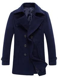 womens double ted woolen blend tall pea coat deep blue 2xl