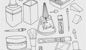 Kitchen Tools Coloring Pages Makeup Coloring Page Illustration