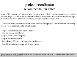 Sample Recommendation Letter For Job Project Coordinator Recommendation Letter