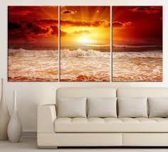 red sunset wall art