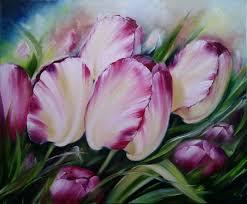 beige flower paintings handmade oil painting bright tulips ermolaeva olesya my livemaster painting