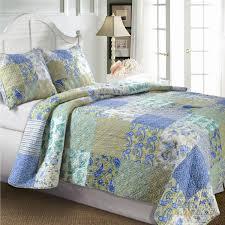 King Size Cotton Paisley Patchwork Quilt Set in Blue Green Yellow ... & King Size Cotton Paisley Patchwork Quilt Set in Blue Green Yellow Adamdwight.com