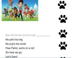 Paw Print Behavior Chart Worksheets Teaching Resources Tpt