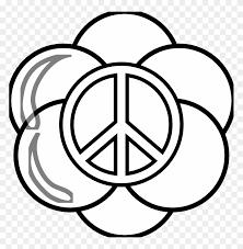 Peace Symbol Peace Sign Flower 13 Black White Line Love Soccer