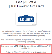 Gyft From 90 Egift 100 promo For Deal Lowesdad Lowe's Quick Card Code